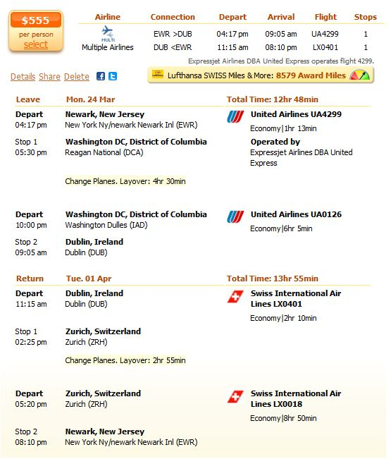 Spring flight from New Jersey to Dublin details