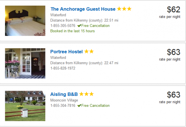3 cheapest Kilkenny hotels