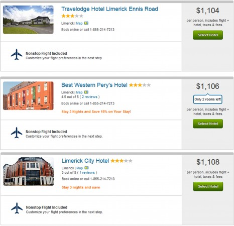 3 cheapest Limerick vacation packages