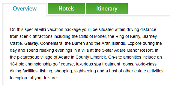 Ireland vacation package - description
