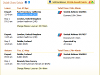 United flight from San Francisco to Dublin for $726