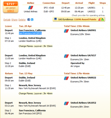 San Francisco to Dublin flight details