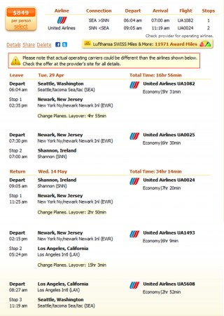 Seattle to Shannon flight details