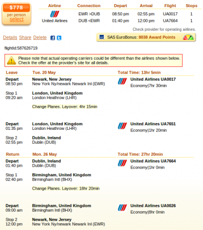 Airfare details: Newark to Dublin