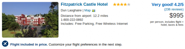Dublin getaway at Fitzpatrick Castle Hotel for $995